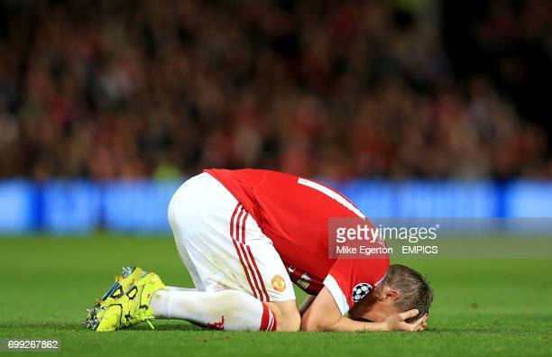 Manchester United's Bastian Schweinsteiger looks dejected after a missed chance for his side