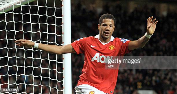 Manchester United's Bebe celebrates after scoring during the Carling cup fourth round football match against Wolves at Old Trafford in Manchester...