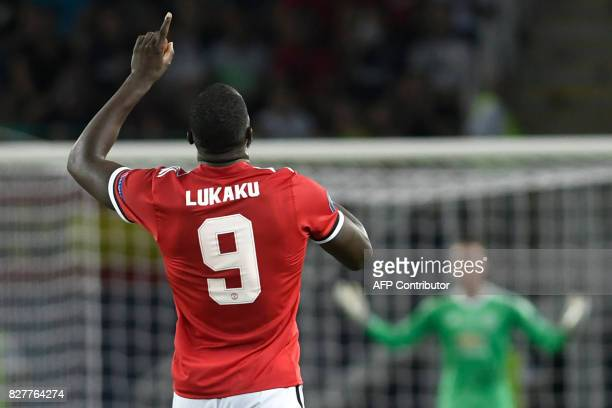 Manchester United's Belgian striker Romelu Lukaku celebrates after scoring a goal during the UEFA Super Cup football match between Real Madrid and...