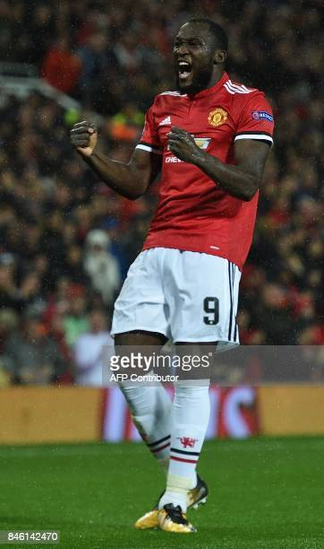 Manchester United's Belgian striker Romelu Lukaku celebrates scoring his team's second goal during the UEFA Champions League Group A football match...