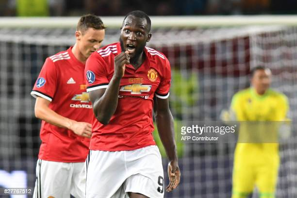 Manchester United's Belgian striker Romelu Lukaku shouts during the UEFA Super Cup football match between Real Madrid and Manchester United on August...