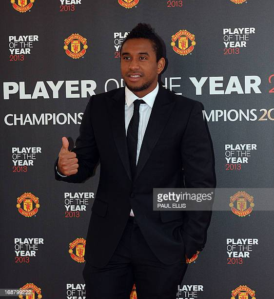 Manchester United's Brazilian midfielder Anderson arrives for the Player of the Year awards at Old Trafford Manchester northwest England on May 15...