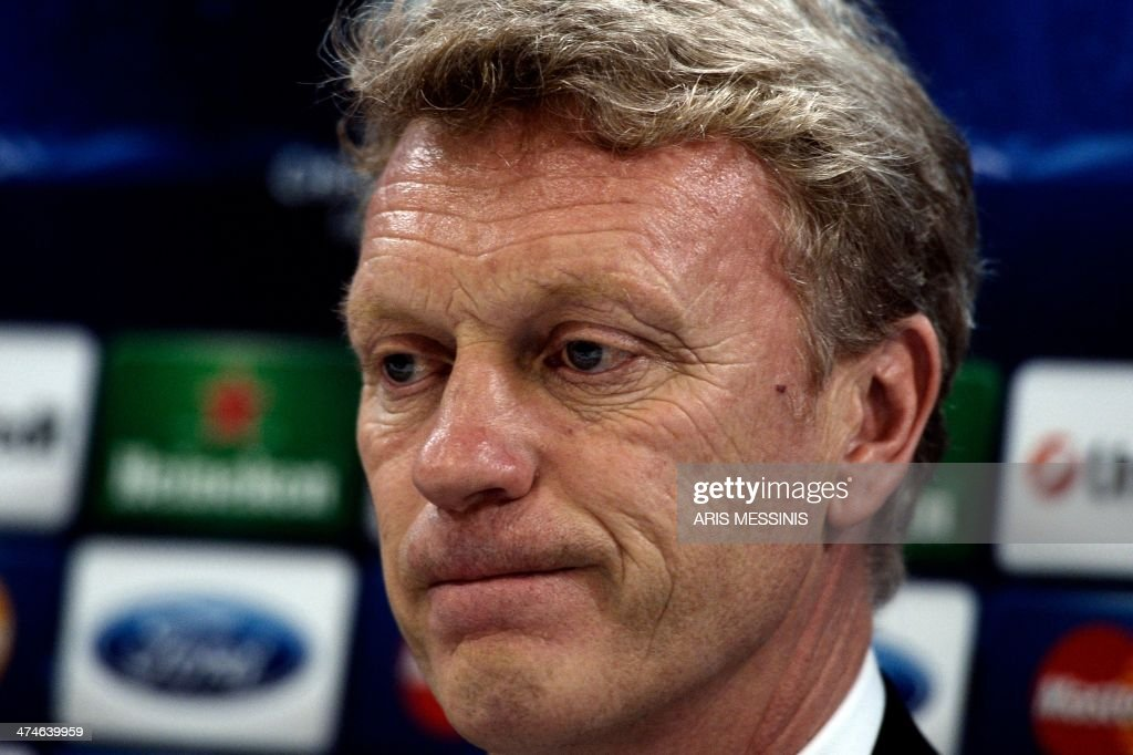 Manchester United's coach David Moyes looks on during a press conferense at the Karaiskaki stadium in Athens on February 24, 2014.