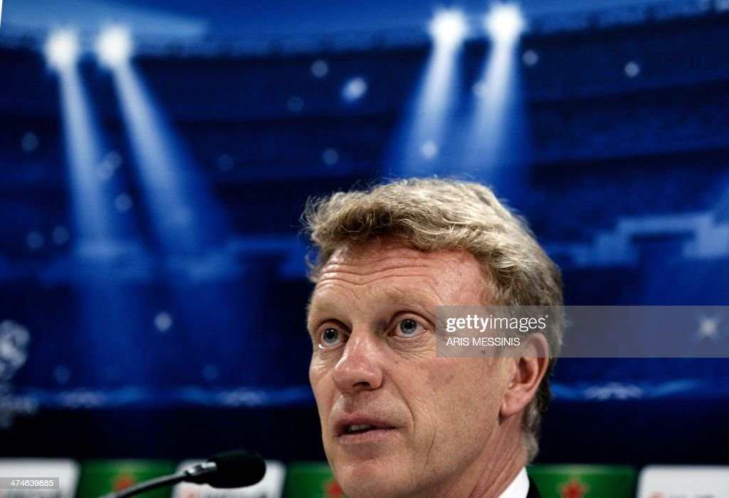 Manchester United's coach David Moyes speaks during a press conferense at the Karaiskaki stadium in Athens on February 24, 2014.