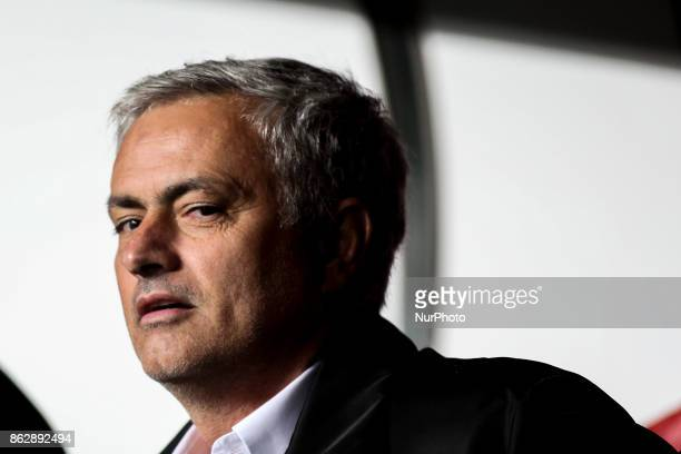 Manchester United's coach Jose Mourinho looks on during the Champions League football match between SL Benfica and Manchester United at Luz Stadium...