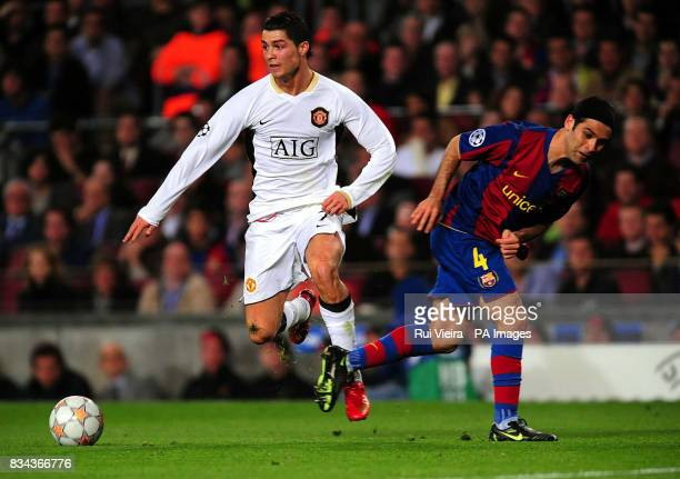 Manchester United's Cristiano Ronaldo and Barcelona's Rafael Marquez during the UEFA Champions League Semi Final First Leg match at Nou Camp...