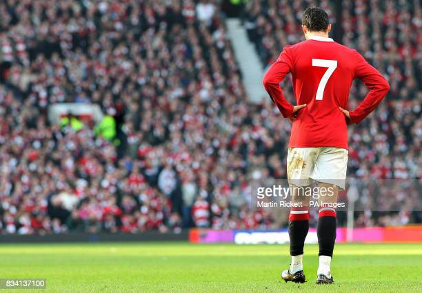 Manchester United's Cristiano Ronaldo appears dejected during the Barclays Premier League match at Old Trafford Manchester