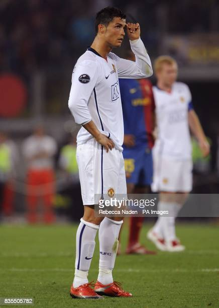 Manchester United's Cristiano Ronaldo appears dejected