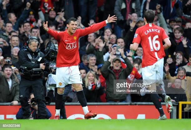 Manchester United's Cristiano Ronaldo celebrates scoring during the Barclays Premier League match at Old Trafford Manchester