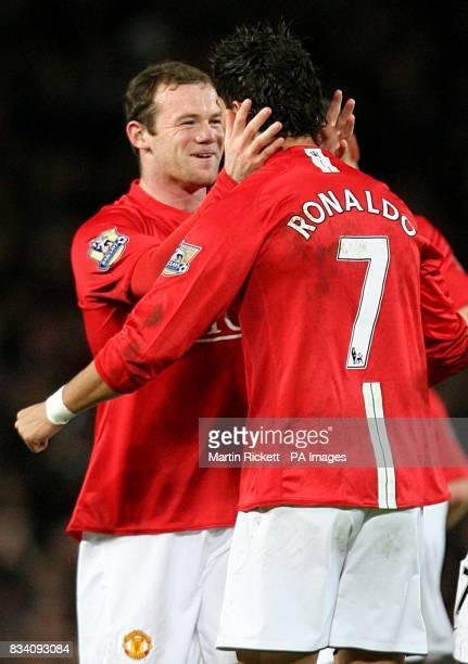 Manchester United's Cristiano Ronaldo celebrates scoring his second goal of the game with Wayne Rooney