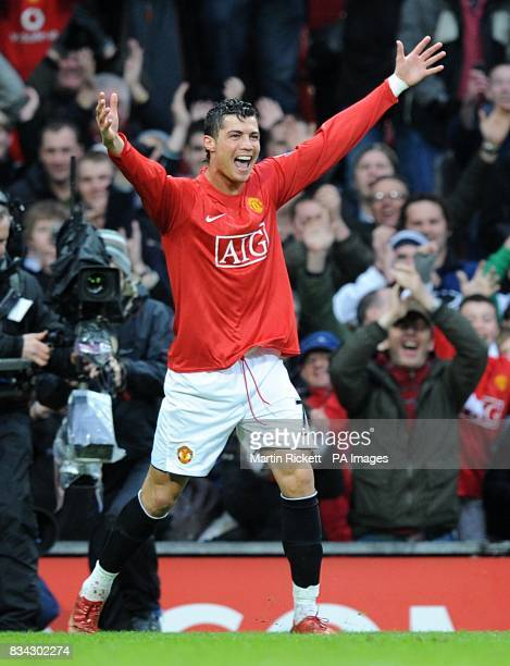 Manchester United's Cristiano Ronaldo celebrates scoring the opening goal of the game