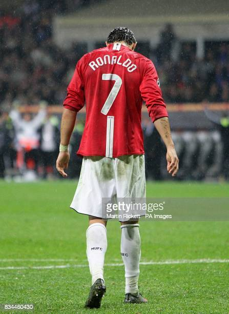 Manchester United's Cristiano Ronaldo dejected after missing his penalty in the shootout
