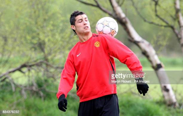 Manchester United's Cristiano Ronaldo during the training session at Carrington Training Ground Manchester