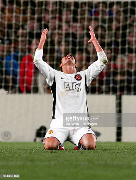 Manchester United's Cristiano Ronaldo holds his arms up in despair after unsuccessfully appealing for a foul during the UEFA Champions League Semi...