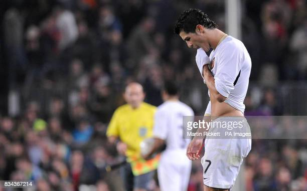 Manchester United's Cristiano Ronaldo looks dejected after the UEFA Champions League Semi Final First Leg match at Nou Camp Barcelona Spain