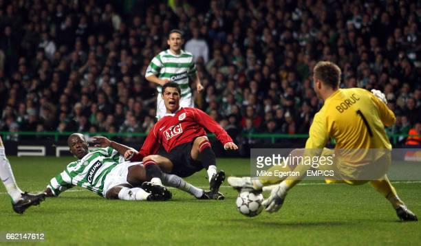 Manchester United's Cristiano Ronaldo sees his shot saved by Celtic Artur Boruc
