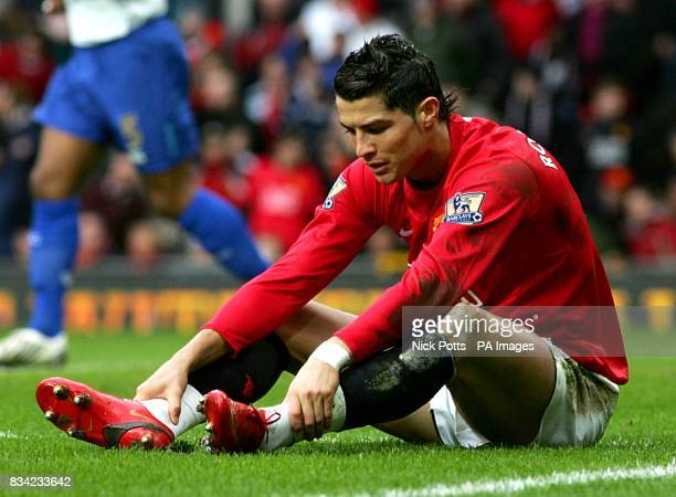 Manchester United's Cristiano Ronaldo sits dejected after a penalty shout