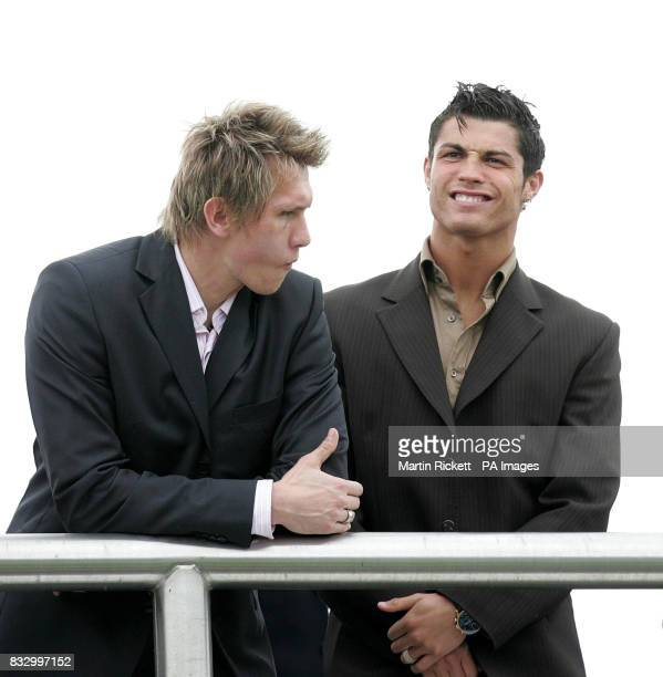 Manchester United's Cristiano Ronaldo with teammate Tomasz Kuszczak at Chester Racecourse Chester
