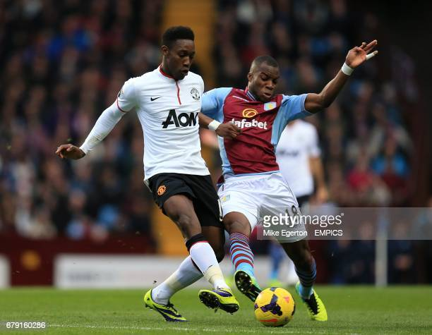 Manchester United's Danny Welbeck and Aston Villa's Yacouba Sylla battle for the ball