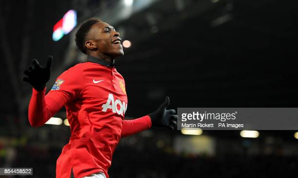 Manchester United's Danny Welbeck celebrates after scoring his team's second goal of the game during the Barclays Premier League match at Old...