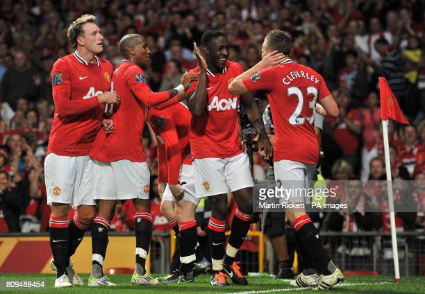 Manchester United's Danny Welbeck celebrates scoring the opening goal with Tom Cleverley Ashley Young and Phil Jones during the Barclays Premier...