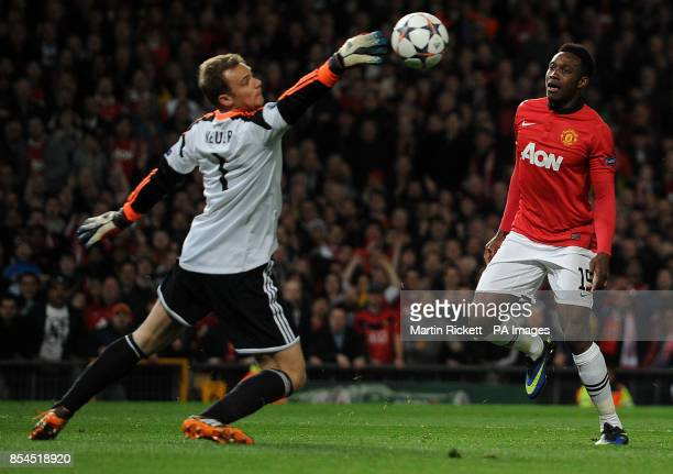 Manchester United's Danny Welbeck has his shot saved during the UEFA Champions League Quarter Final match Old Trafford Manchester