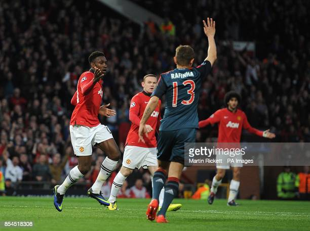 Manchester United's Danny Welbeck reacts after his opening goal is disallowed due to dangerous play