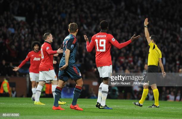 Manchester United's Danny Welbeck reacts to match referee Carlos Velasco Carballo disallowing his goal due to dangerous play