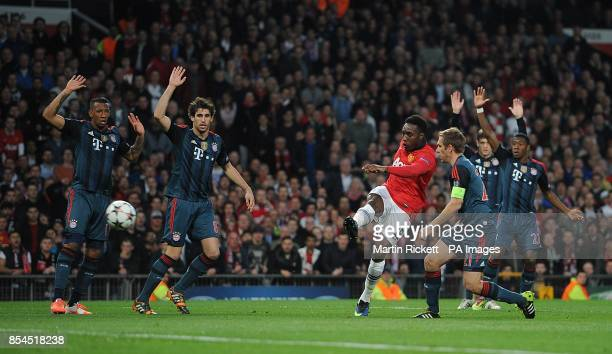 Manchester United's Danny Welbeck shoots to score an opening goal goal before it is disallowed due to dangerous play