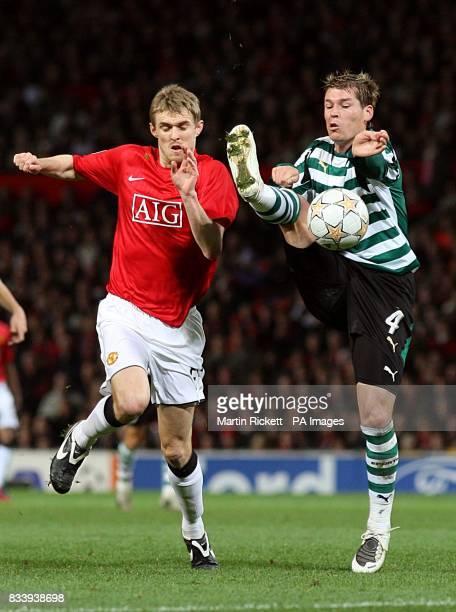 Manchester United's Darren Fletcher and Sporting Lisbon's Correa Anderson Polga battle for the ball