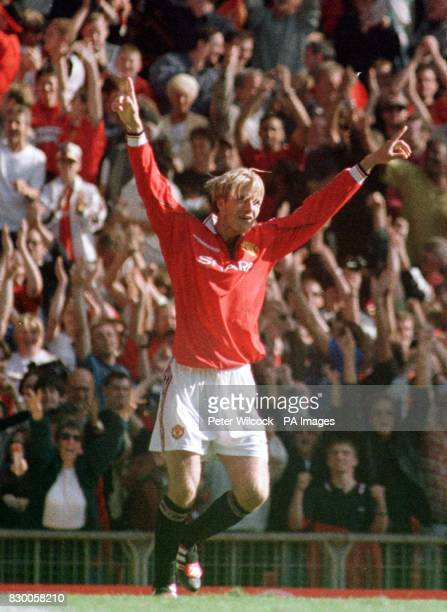 Manchester United's David Beckham celebrates his last gasp equalizer to draw with Leicester City during today's FA Carling Premiership match at Old...