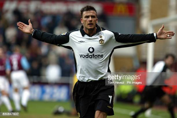 Manchester United's David Beckham scores the equalizer during the FA Barclaycard Premiership match between West Ham United and Manchester United at...