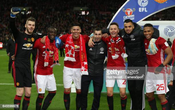 Manchester United's David De Gea Eric Bailly Marcos Rojo Henrikh Mkhitaryan Ander Herrera Sergio Romero and Luis Antonio Valencia celebrate at the...