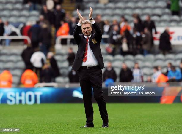 Manchester United's David Moyes celebrates during the Barclays Premier League match at the St James' Park Newcastle