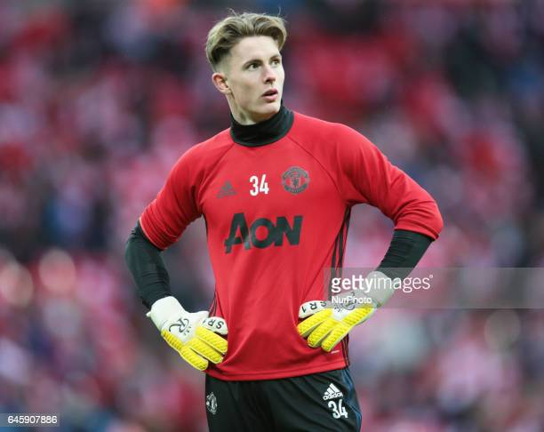 Manchester United's Dean Henderson during the EFL Cup Final Match between Manchester United and Southampton on February 26 at the Wembley Stadium...