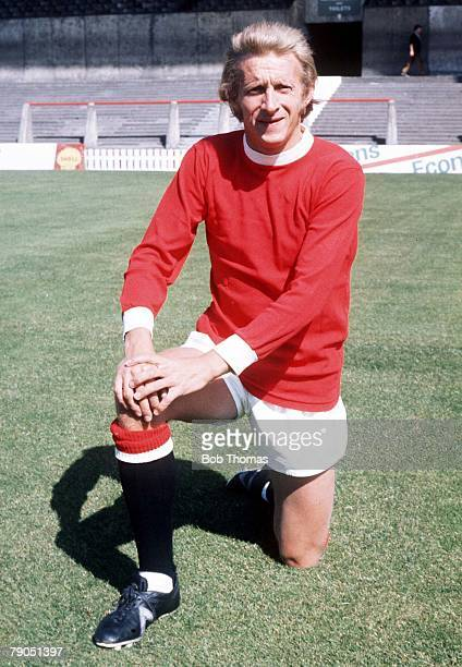 SPORT FOOTBALL Manchester United's Denis Law poses for photographers in a Man Utd strip at Old Trafford