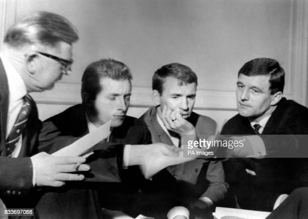 Manchester United's Denis Law who in November was sent off during a match with Blackpool attends a hearing of the Football Association Disciplinary...