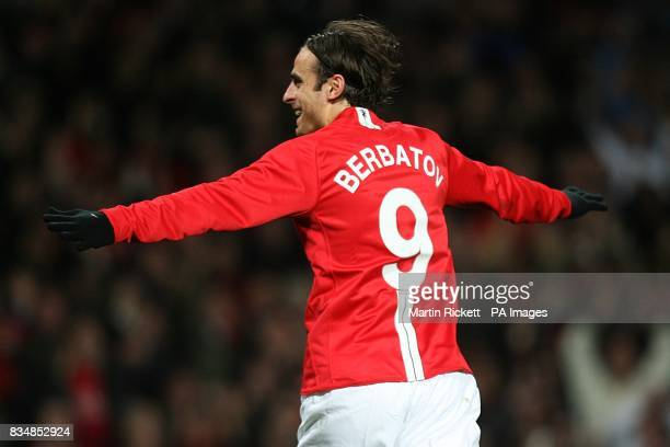Manchester United's Dimitar Berbatov celebrates after scoring the second goal of the game