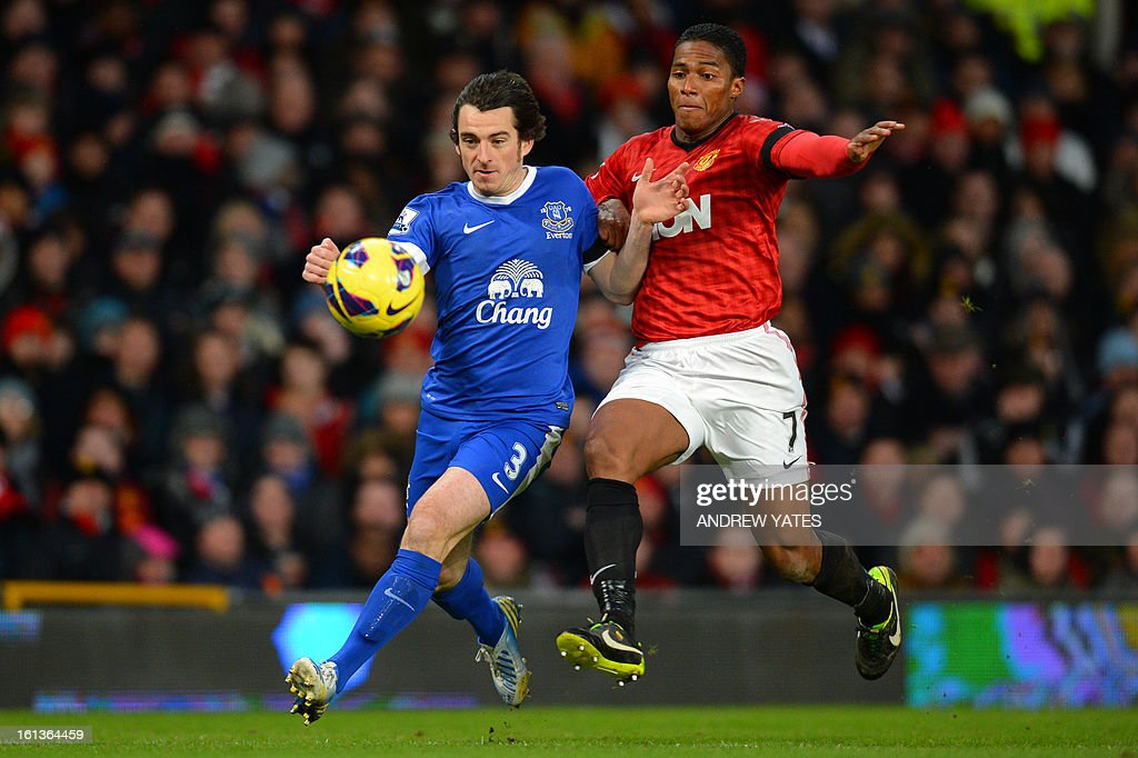 "Manchester United's Ecuador midfielder Antonio Valencia (R) chases Everton's English defender Leighton Baines (L) during the English Premier League football match between Manchester United and Everton at Old Trafford, Manchester, North West England, on February 10, 2013. USE. No use with unauthorized audio, video, data, fixture lists, club/league logos or ""live"" services. Online in-match use limited to 45 images, no video emulation. No use in betting, games or single club/league/player publications."