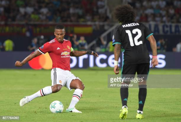 Manchester United's Ecuadorian midfielder Antonio Valencia kicks the ball during the UEFA Super Cup football match between Real Madrid and Manchester...
