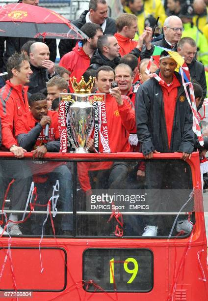 Manchester United's Edwin Van der Sar Patrice Evra Antonio Valencia Dimitar Berbatov and Luis Nani