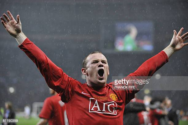 Manchester United's English forward Wayne Rooney celebrates after beating Chelsea in a penalty shoot out to win the final of the UEFA Champions...