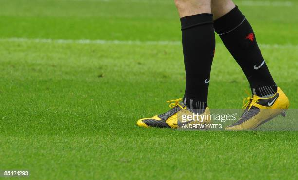 Manchester United's English forward Wayne Rooney's boots are seen before their English Premier League football match against Liverpool at Old...