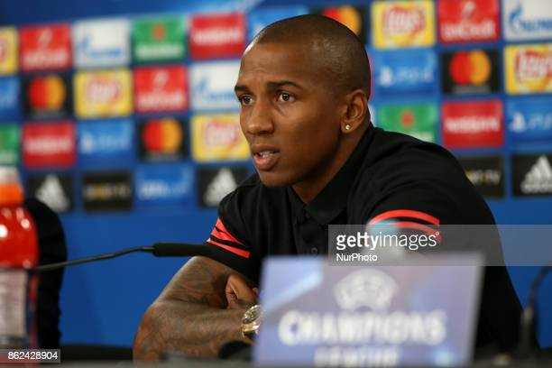 Manchester United's English midfielder Ashley Young attends a press conference at the Luz stadium in Lisbon Portugal on October 17 on the eve of the...
