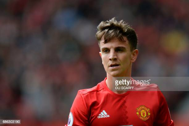 Manchester United's English midfielder Josh Harrop plays during the English Premier League football match between Manchester United and Cyrstal...