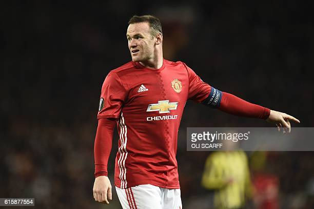 Manchester United's English striker Wayne Rooney reacts during the UEFA Europa League group A football match between Manchester United and Fenerbahce...