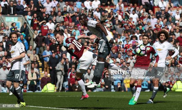 Manchester United's Eric Bailly and Burnley's Ashley Barnes during the Premier League match between Burnley and Manchester United at Turf Moor on...