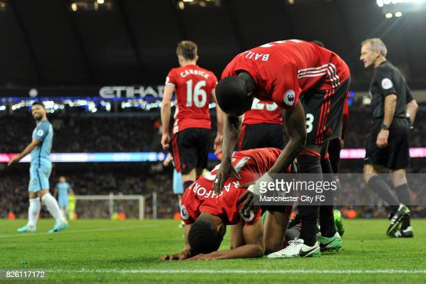 Manchester United's Eric Bailly and Marcus Rashford in action during the Barclay's Premiership match at the Etihad Stadium Manchester on 27th March...