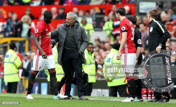 Manchester United's Eric Bailly with Manchester United manager Jose Mourinho as he leaves the game with an injury to be replaced by Manchester...