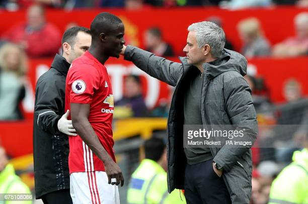 Manchester United's Eric Bailly with Manchester United manager Jose Mourinho after getting injured and leaving the game during the Premier League...